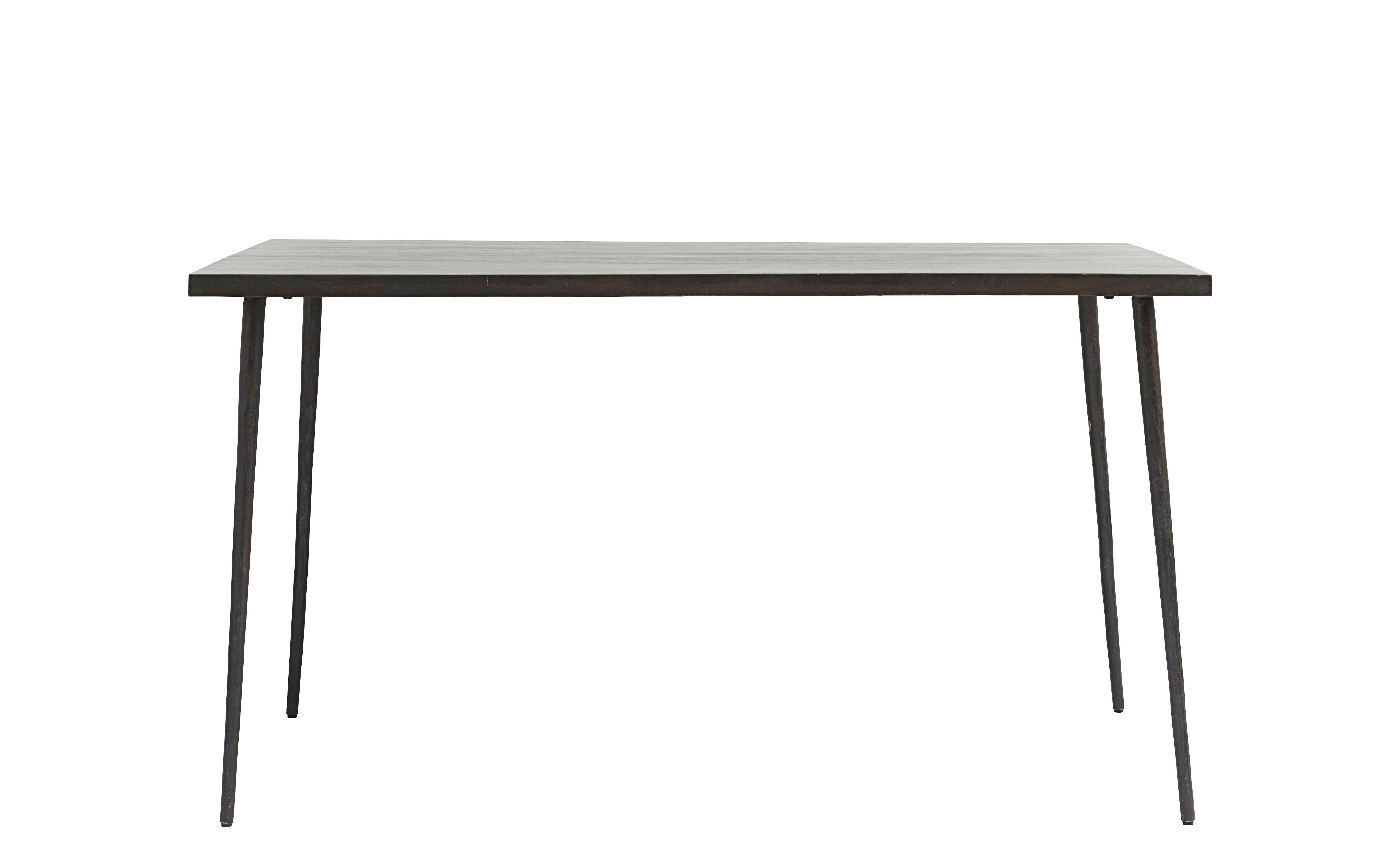 Mobilier - Tables - Table rectangulaire Slated / Bois & métal - 140 x 80 cm - House Doctor - Bois foncé / Pied noir - Bois de manguier, Fer peint