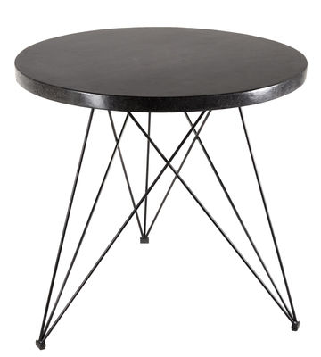 Furniture - Dining Tables - Sticchite Table - Terrazzo & Metal - Ø 80 x H 77 cm by Serax - Black - Painted iron, Terrazzo