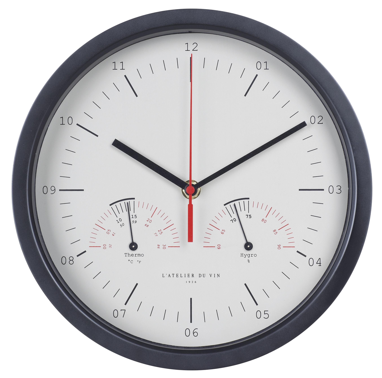 Tableware - Wine Accessories - Hygro-Thermo Wall clock by L'Atelier du Vin - Black & white - Aluminium, Glass