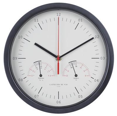 Tischkultur - Bar, Wein und Apéritif - Hygro-Thermo Wanduhr / mit Thermometer und Hygrometer - L'Atelier du Vin - Rahmen schwarz  / Ziffernblatt weiß - Aluminium, Glas