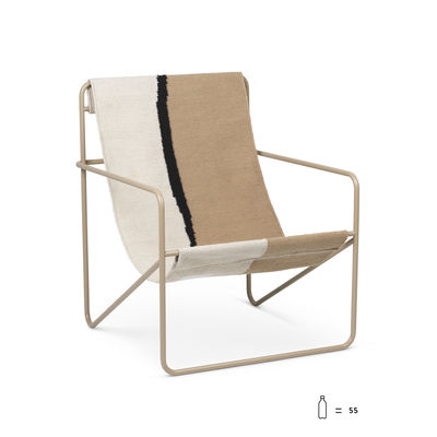 Furniture - Armchairs - Desert Armchair - / Beige structure Recycled plastic bottles by Ferm Living - / Beige metal Soil canvas - Powder coated steel, Recycled fabric