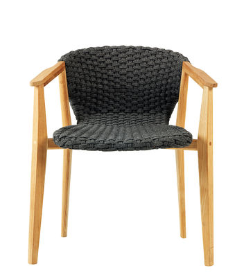 Furniture - Chairs - Knit Armchair - / Synthetic rope by Ethimo - Lava Grey / Teak - Natural teak, Synthetic rope