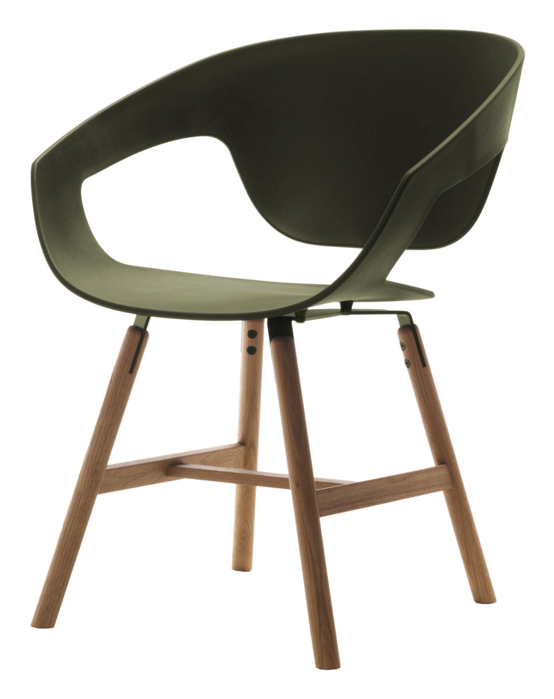 Furniture - Chairs - Vad wood Armchair - Plastic & wood legs by Casamania - Green - Polypropylene, Solid wood