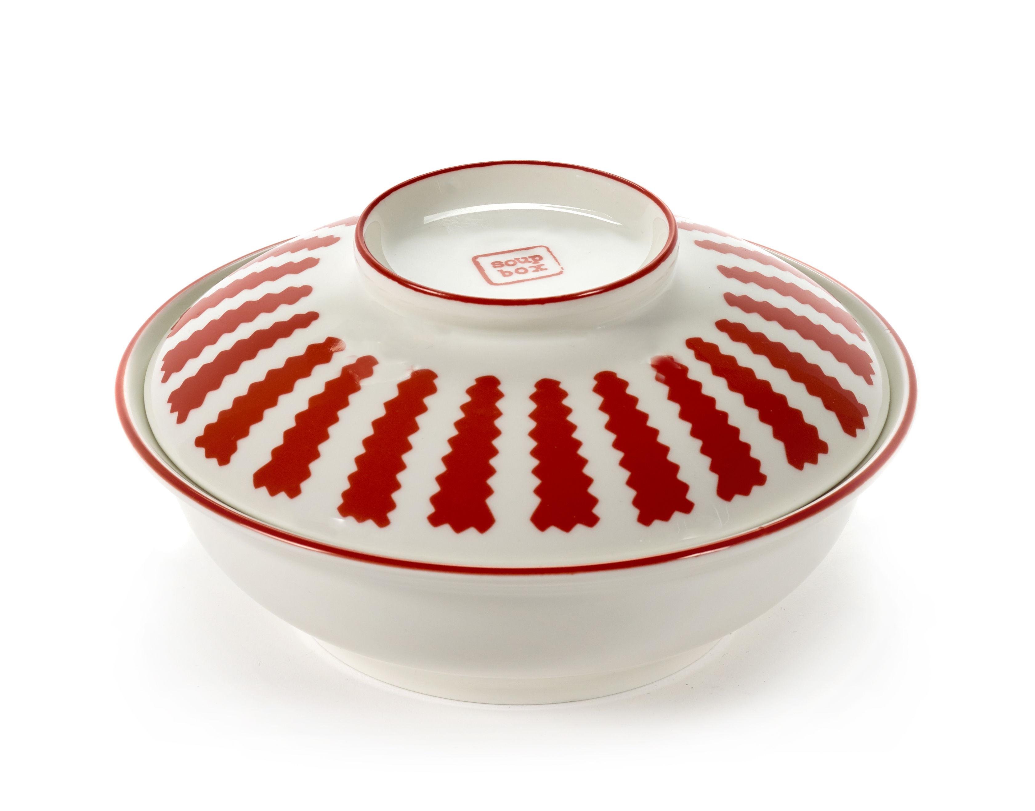 Arts de la table - Saladiers, coupes et bols - Bol à soupe / Avec couvercle - Serax - Rouge & blanc - Porcelaine