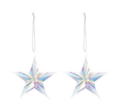 Boule de Noël Cosmic Star / Set de 2 - & klevering iridescent en matière plastique