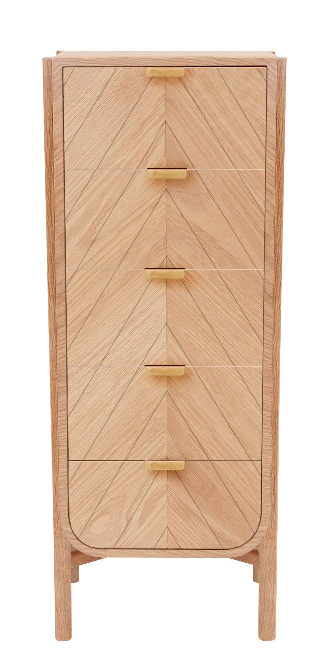 Arredamento - Raccoglitori - Cassettiera Marius - / L 45 x H 130 cm di Hartô - Rovere naturale / Manici ottone - MDF rivestito in rovere, Rovere massello