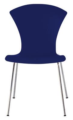 Mobilier - Chaises, fauteuils de salle à manger - Chaise empilable Nihau / Assise plastique & pieds métal - Kartell - Bleu marine - Acier chromé, Polypropylène