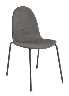Mobilier - Chaises, fauteuils de salle à manger - Chaise rembourrée Bob / Tissu face interne - Ondarreta - Tissu gris & bois / Structure grise - Acier, Hêtre verni, Tissu