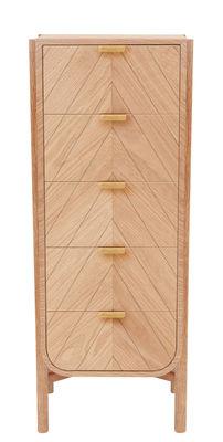 Mobilier - Meubles de rangement - Chiffonnier Marius / L 50 x H 130 cm - Hartô - Chêne naturel - Chêne massif, MDF plaqué chêne