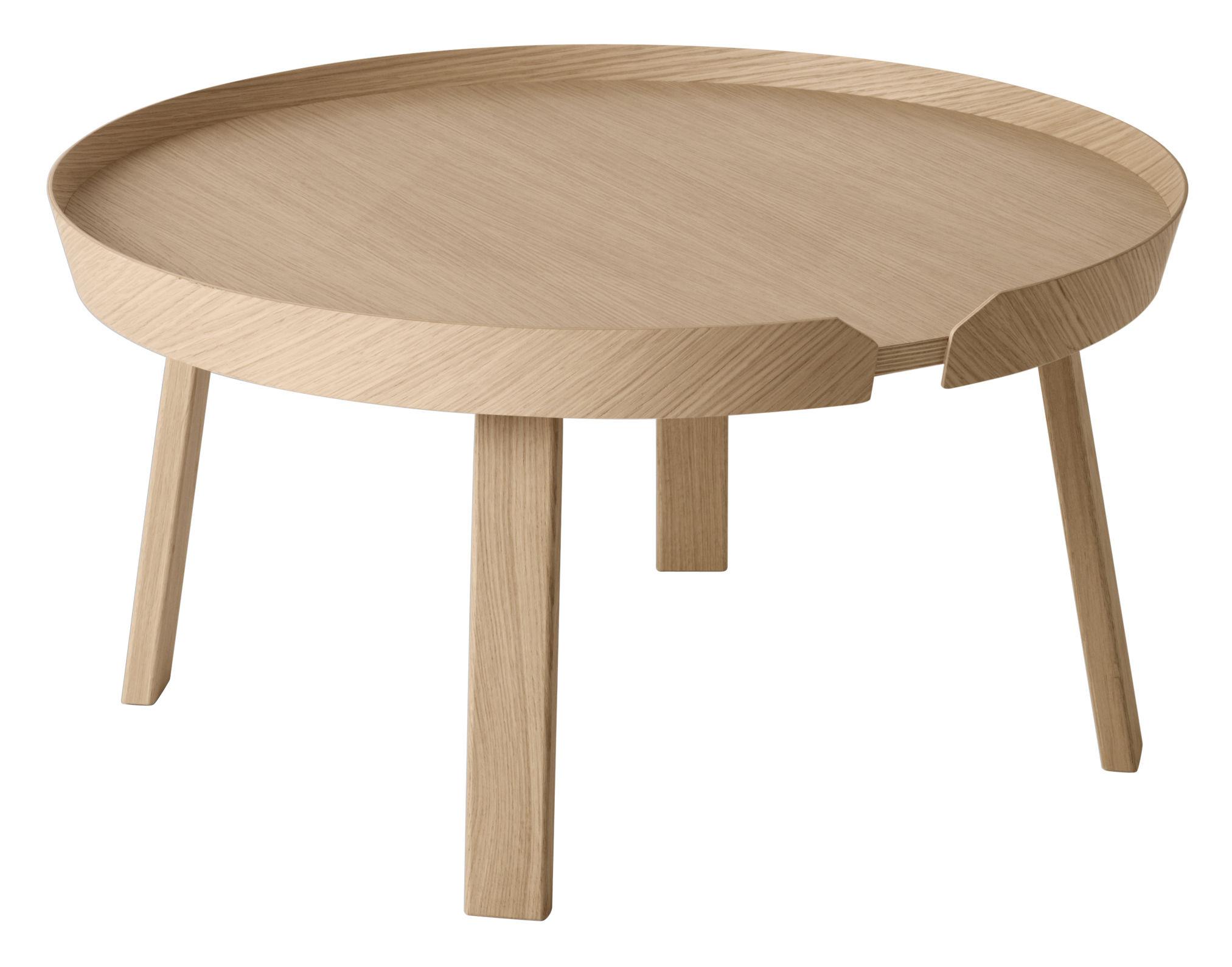 Möbel - Couchtische - Around Couchtisch Groß Ø 72 cm x H 37,5 cm - Muuto - Ø 72 cm - Eiche natur - Eiche natur