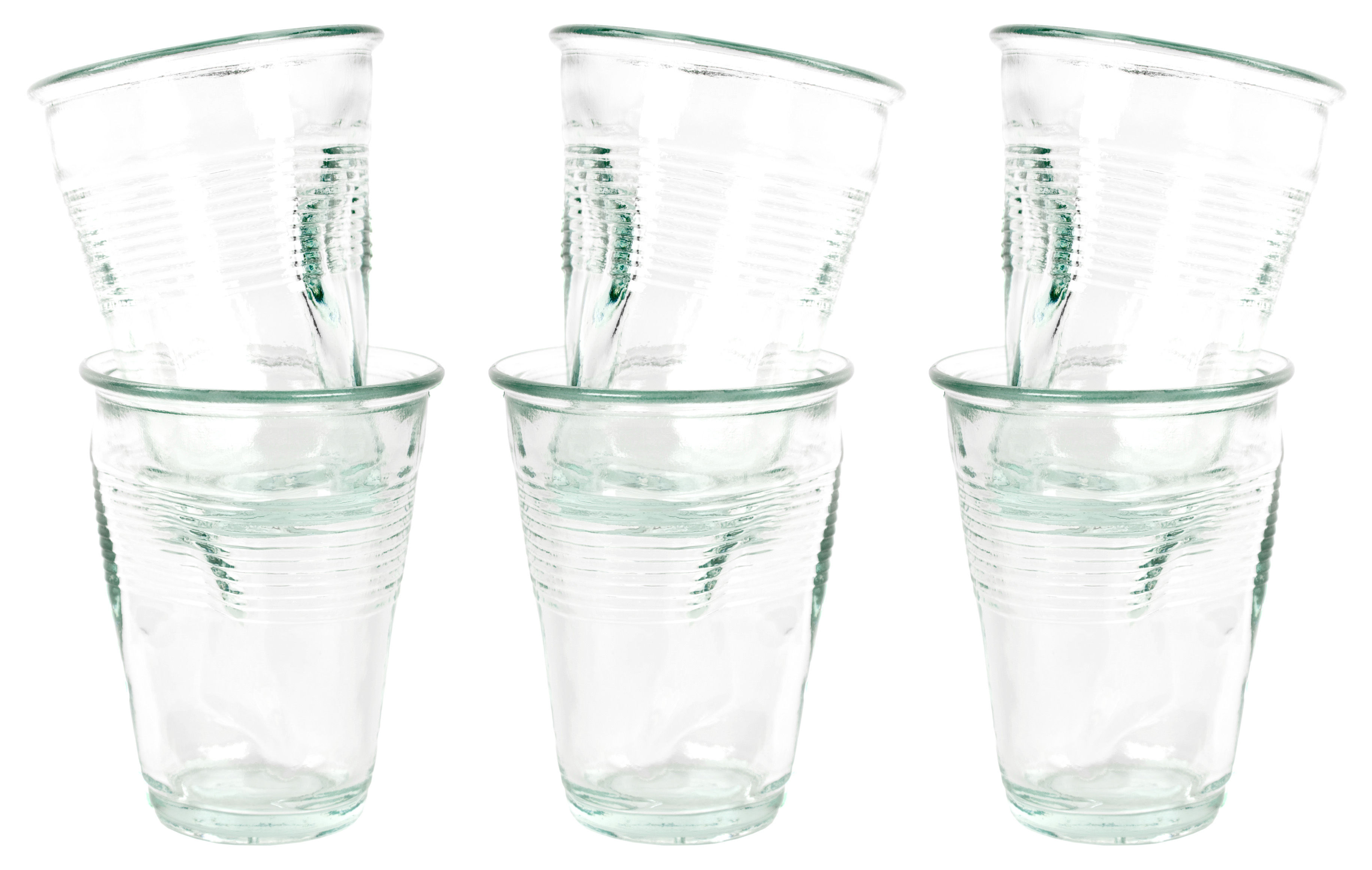 Tableware - Wine Glasses & Glassware - Crushed glass Cup - / Pack of 6 by Rob Brandt - Pop Corn - Transparent - Glass