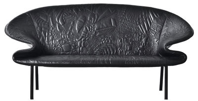 Arredamento - Divani moderni - Divano destro Doodle - / L 180 cm, 2 posti - Cuoio ricamato di Moroso - Nero / Motivi ricamati - Acciaio verniciato, Espanso, Pelle ricamata
