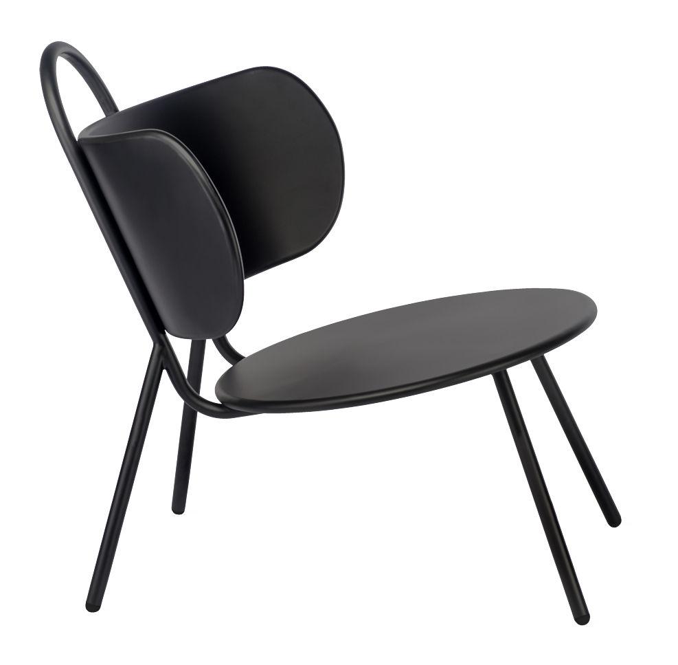 fauteuil bas swim m tal int rieur ext rieur noir bibelo made in design. Black Bedroom Furniture Sets. Home Design Ideas