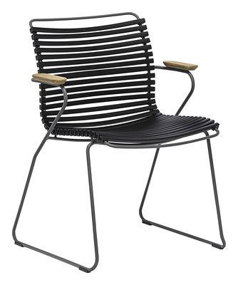 Mobilier - Chaises, fauteuils de salle à manger - Fauteuil Click / Plastique & accoudoirs bambou - Houe - Noir - Bambou, Matière plastique, Métal