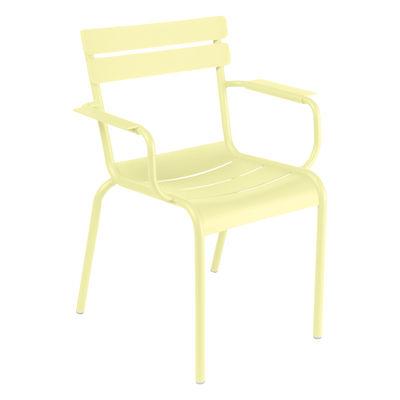 Mobilier - Chaises, fauteuils de salle à manger - Fauteuil empilable Luxembourg / Aluminium - Fermob - Citron givré - Aluminium laqué