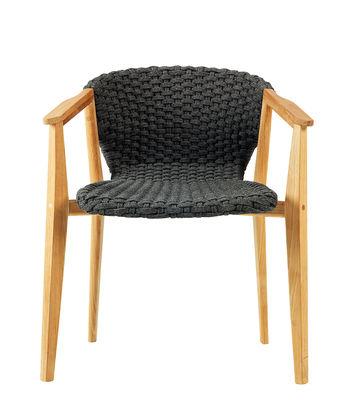 Mobilier - Chaises, fauteuils de salle à manger - Fauteuil Knit / Corde synthétique - Ethimo - Gris Lave / Teck - Corde synthétique, Teck naturel