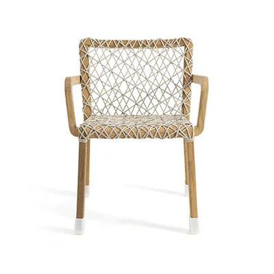 Mobilier - Chaises, fauteuils de salle à manger - Fauteuil Rafael / Teck brossé & corde tressée - Ethimo - Teck brossé / Corde gris clair - Corde acrylique tressée, Teck brossé FSC