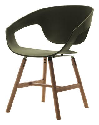 Mobilier - Chaises, fauteuils de salle à manger - Fauteuil Vad wood / Plastique & pieds bois - Casamania - Vert - Bois massif, Polypropylène