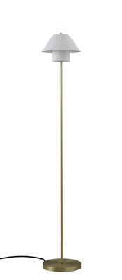 Illuminazione - Lampade da terra - Lampada a stelo Oxford Double - / Ottone satinato & Porcellana di Original BTC - Bianco opaco / Ottone satinato - Ottone, Porcellana