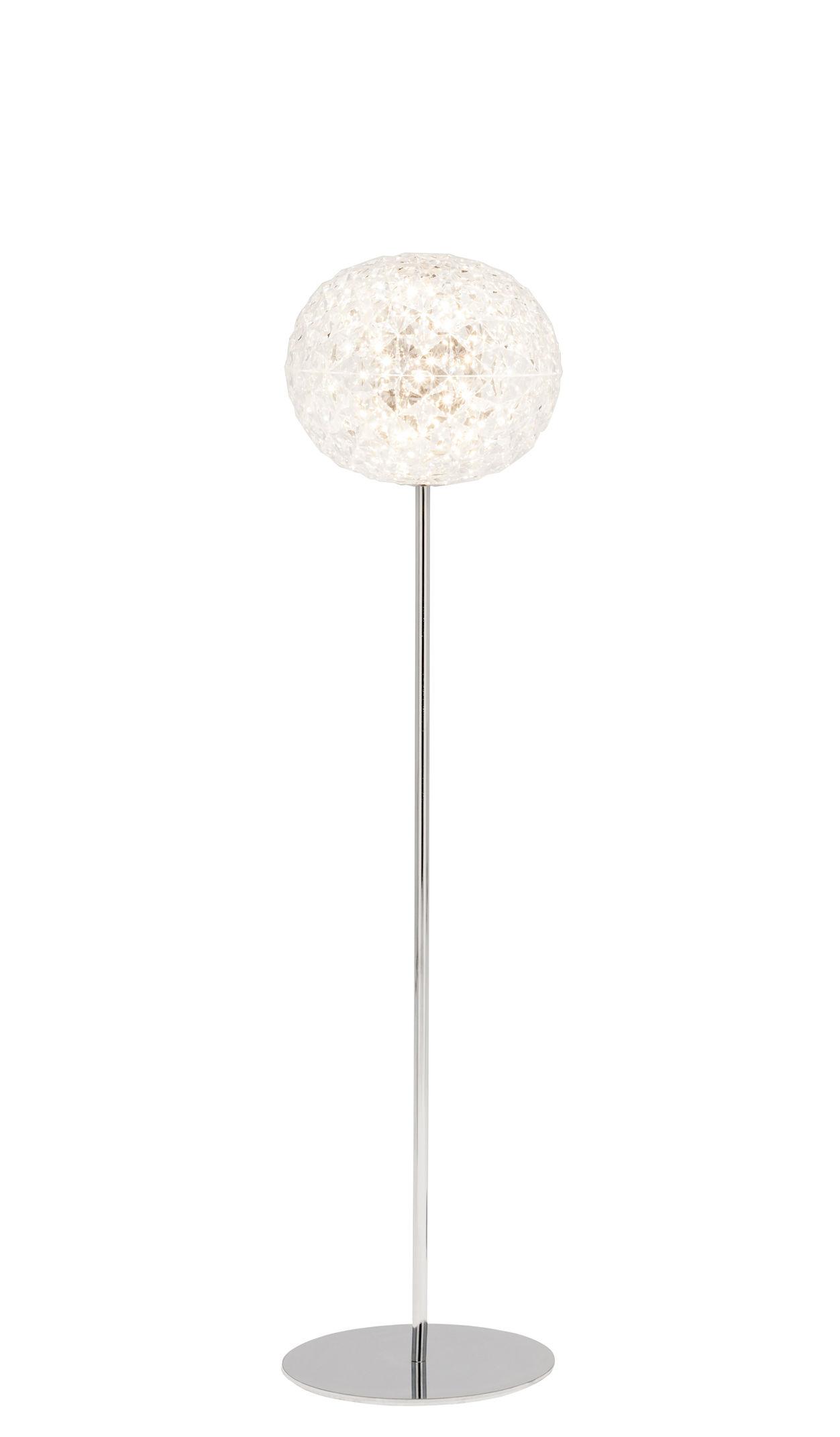 Illuminazione - Lampade da terra - Lampada a stelo Planet - / LED - H 130 cm di Kartell - Cristallo / Piede argento - Alluminio, Technopolymère thermoplastique