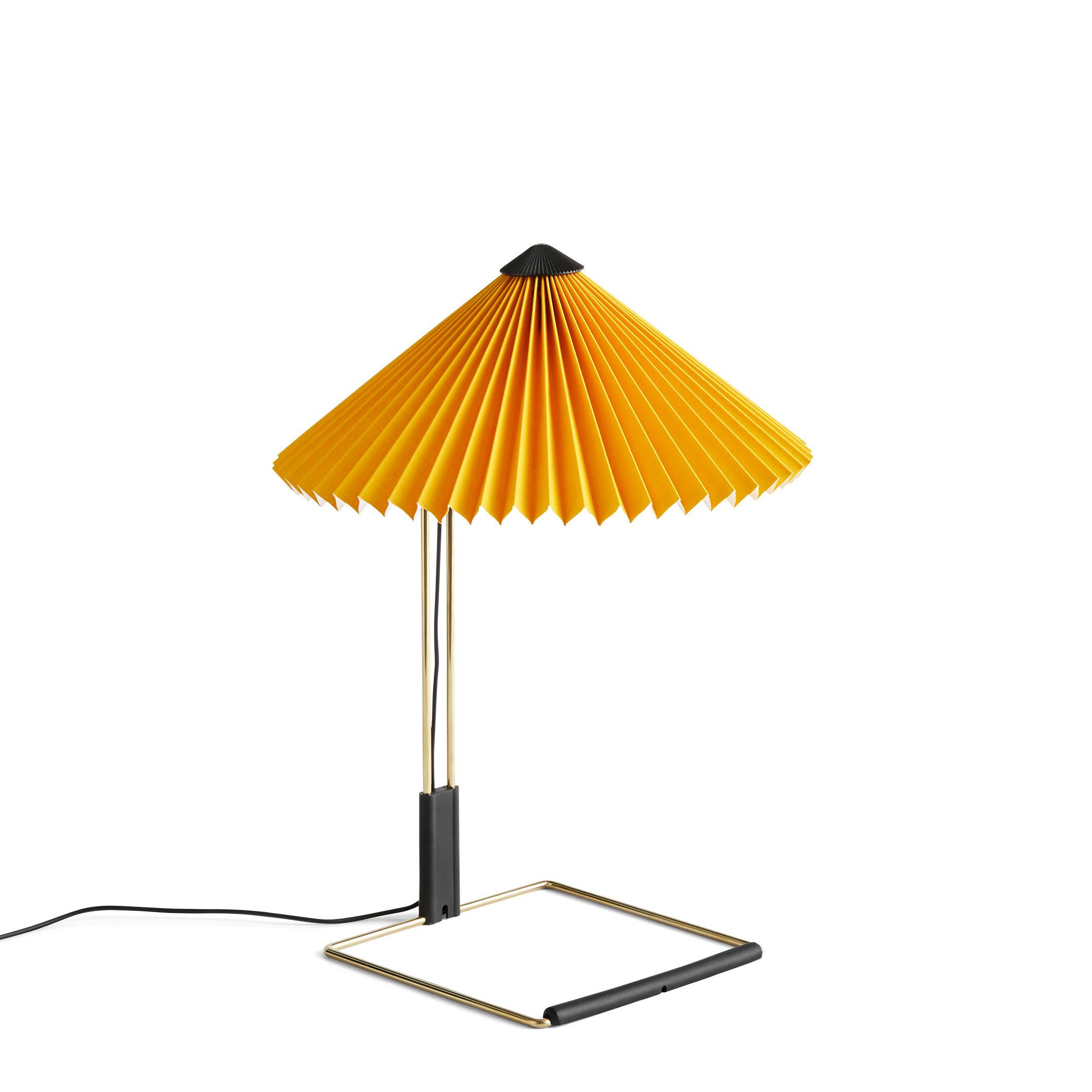 Luminaire - Lampes de table - Lampe de table Matin Small / LED - H 38 cm - Tissu & métal - Hay - Jaune / Laiton poli - Acier finition laiton, Coton plissé