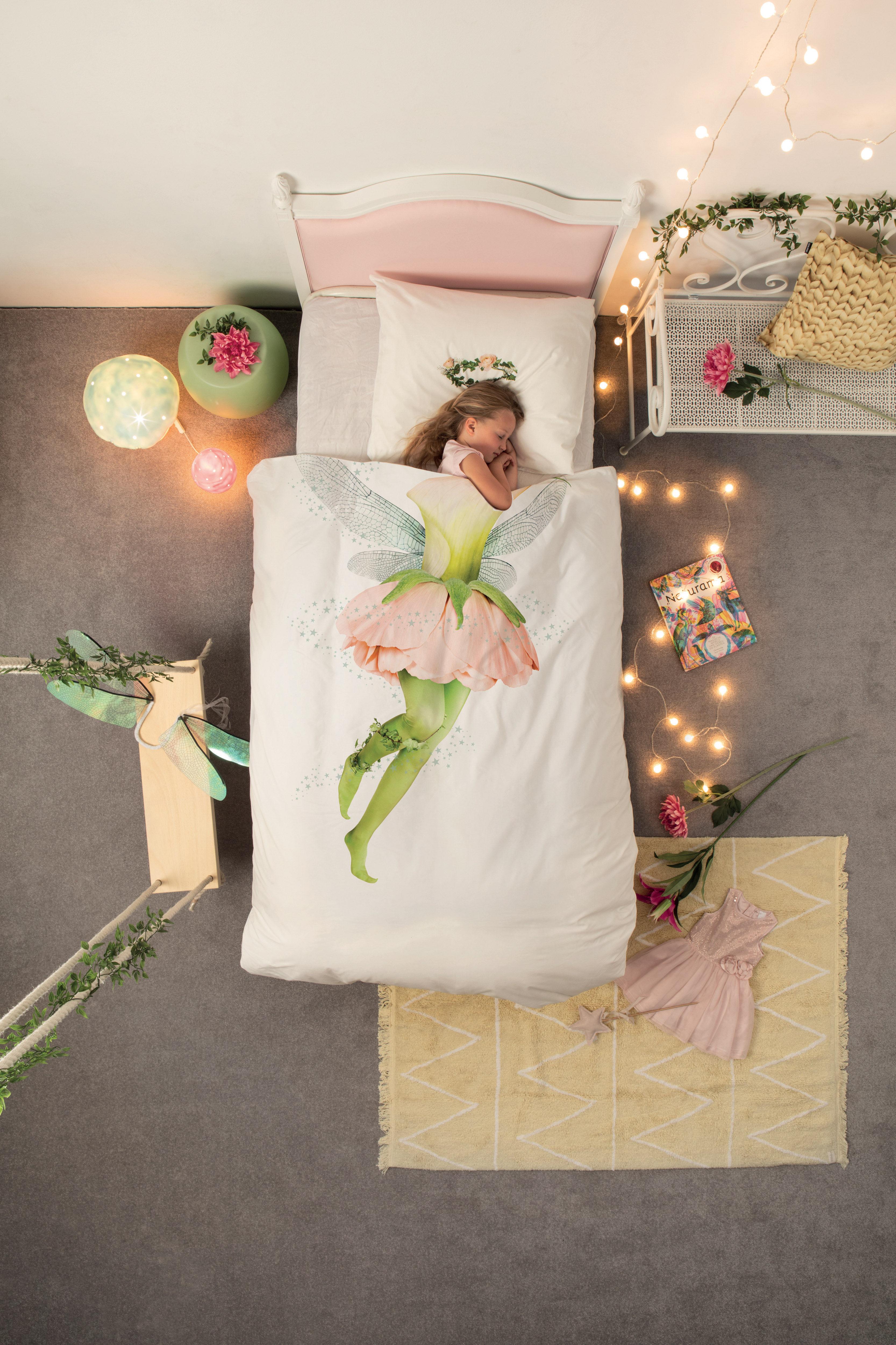 parure de lit 1 personne f e 140 x 200 cm f e vert rose snurk. Black Bedroom Furniture Sets. Home Design Ideas