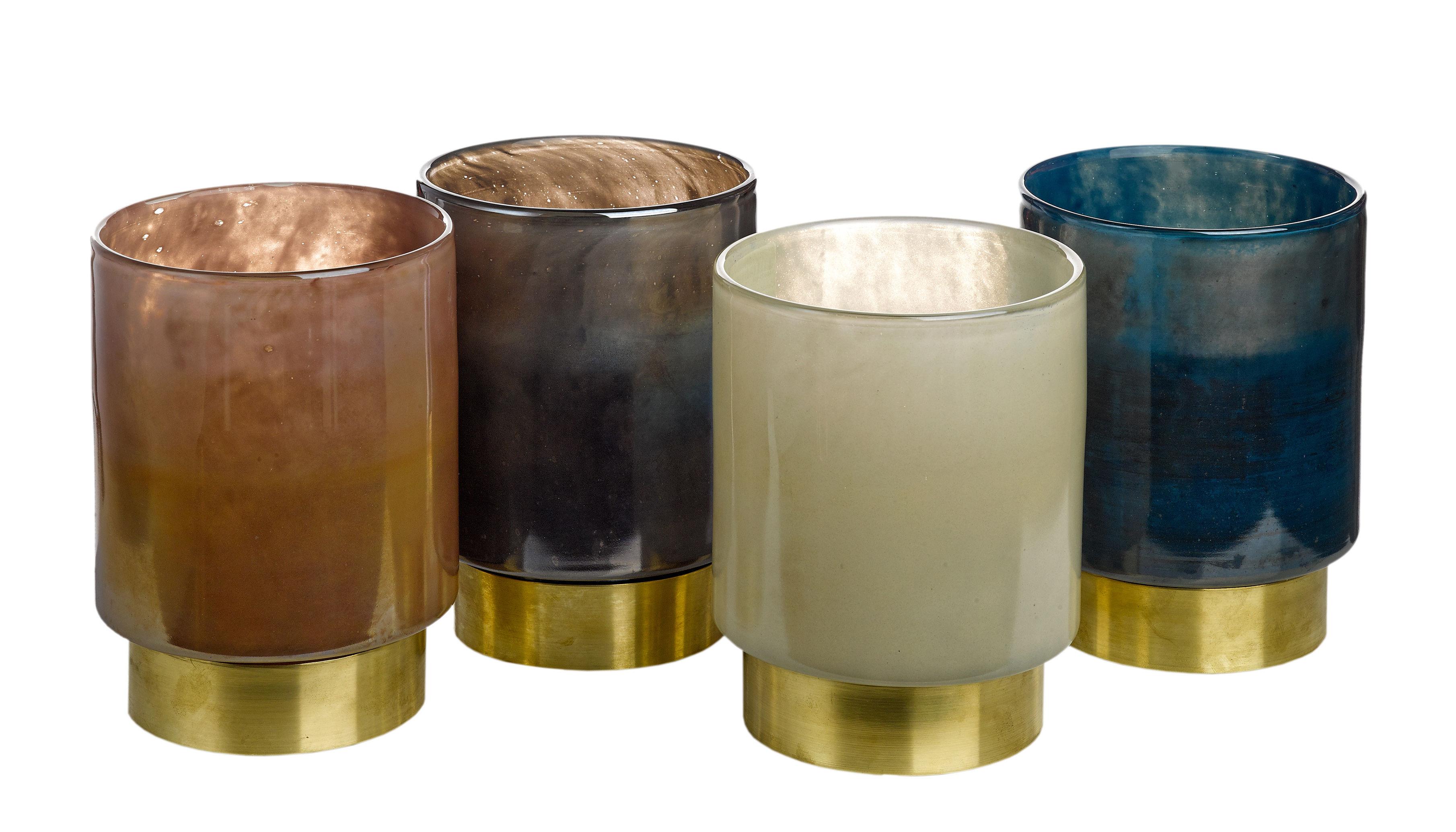 Déco - Bougeoirs, photophores - Photophore Belt Medium / H 19 cm - Set de 4 - Pols Potten - H 19 cm / Rose, beige, bleu, noir - Laiton, Verre