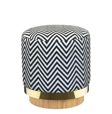 Mobilier - Tabourets bas - Pouf / Tissu - RED Edition - Zebra / Noir - Chêne massif, Coton, Laiton, Mousse