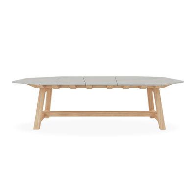 Outdoor - Gartentische - Rafael Octogonal rechteckiger Tisch / 264 x 154 cm - Marmor & gebürstetes Teakholz - 10 Personen - Ethimo - Gebürstetes Teakholz / Weißer Marmor - Marmor, Teck brossé FSC
