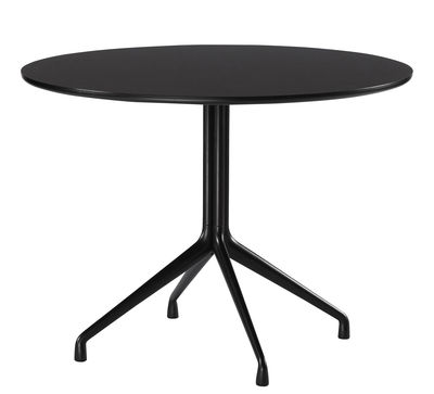 Furniture - Dining Tables - About a Table Round table - Ø 100 cm by Hay - Black - Cast aluminium, Varnished linoleum