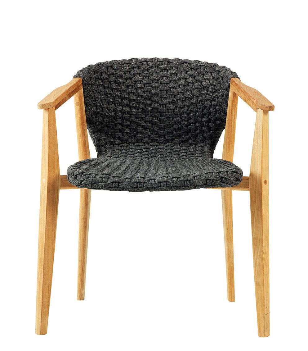 Möbel - Stühle  - Knit Sessel / Synthetikfaden - Ethimo - Lavagrau / Teakholz - Natürliches Teakholz, Synthetisches Seil