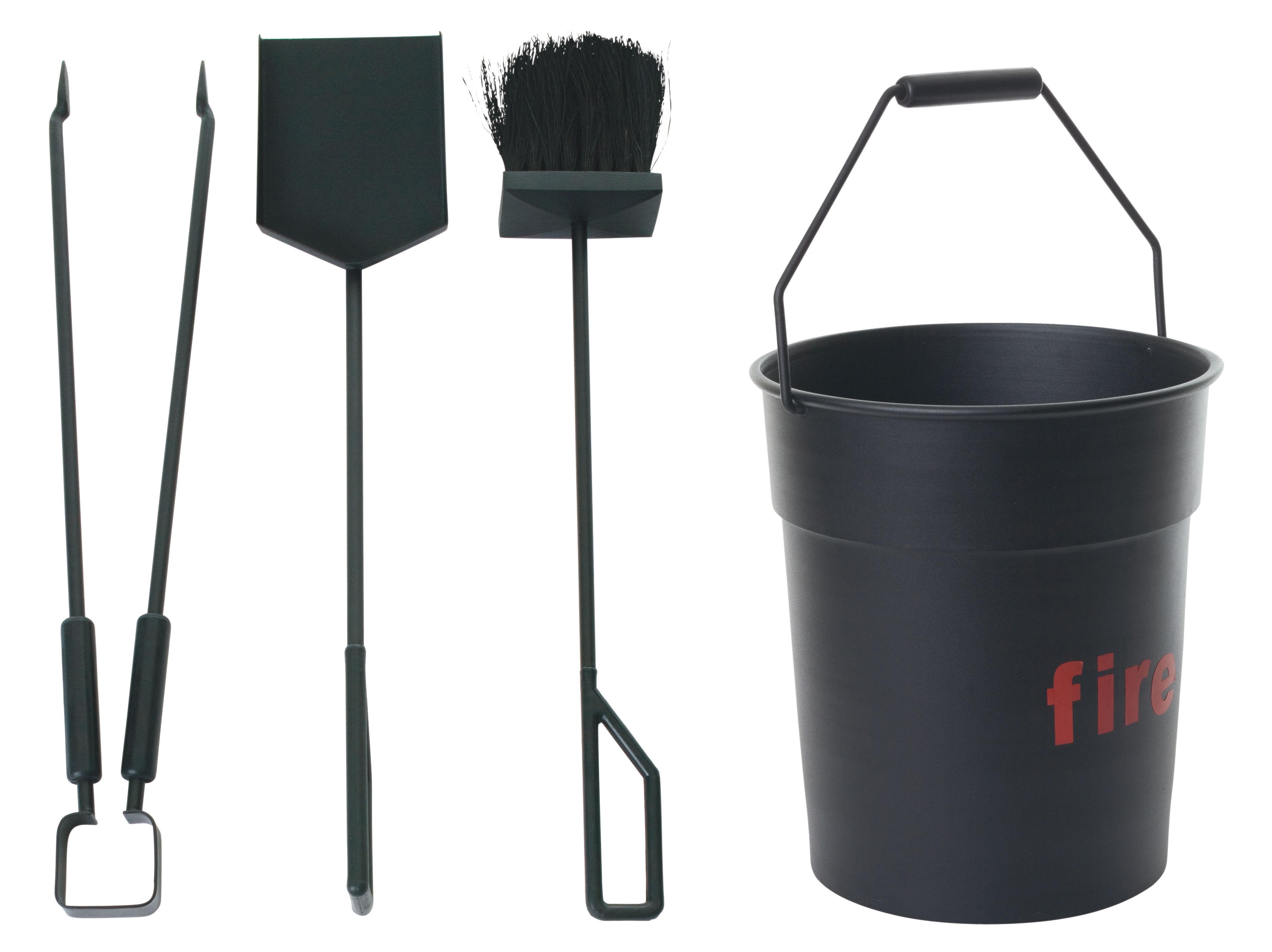 Noël design - Rock & Indus' - Set cheminée Fire Tool 1 seau + 3 accessoires - ENOstudio - Noir - Aluminium, Caoutchouc