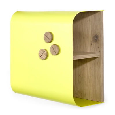 Furniture - Bookcases & Bookshelves - Shell Shelf - Magnetic board - 40 x 40 cm by Universo Positivo - Yellow / Natural oak - Lacquered metal, Solid oak