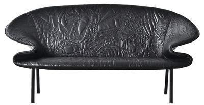 Möbel - Sofas - Doodle Sofa / L 180 cm, 2-Sitzer - besticktes Leder - Moroso - Schwarz / aufgestickte Motive - Cuir brodé, gefirnister Stahl, Schaumstoff