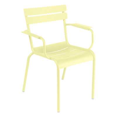 Furniture - Chairs - Luxembourg Stackable armchair - / Aluminium by Fermob - Frosted lemon - Lacquered aluminium