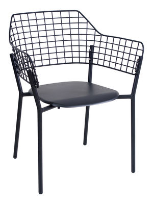 Furniture - Chairs - Lyze Stackable armchair - Metal by Emu - Black - Varnished aluminium, Varnished stainless steel