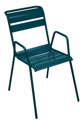 Furniture - Chairs - Monceau Stackable armchair - / Metal by Fermob - Acapulco blue - Painted steel