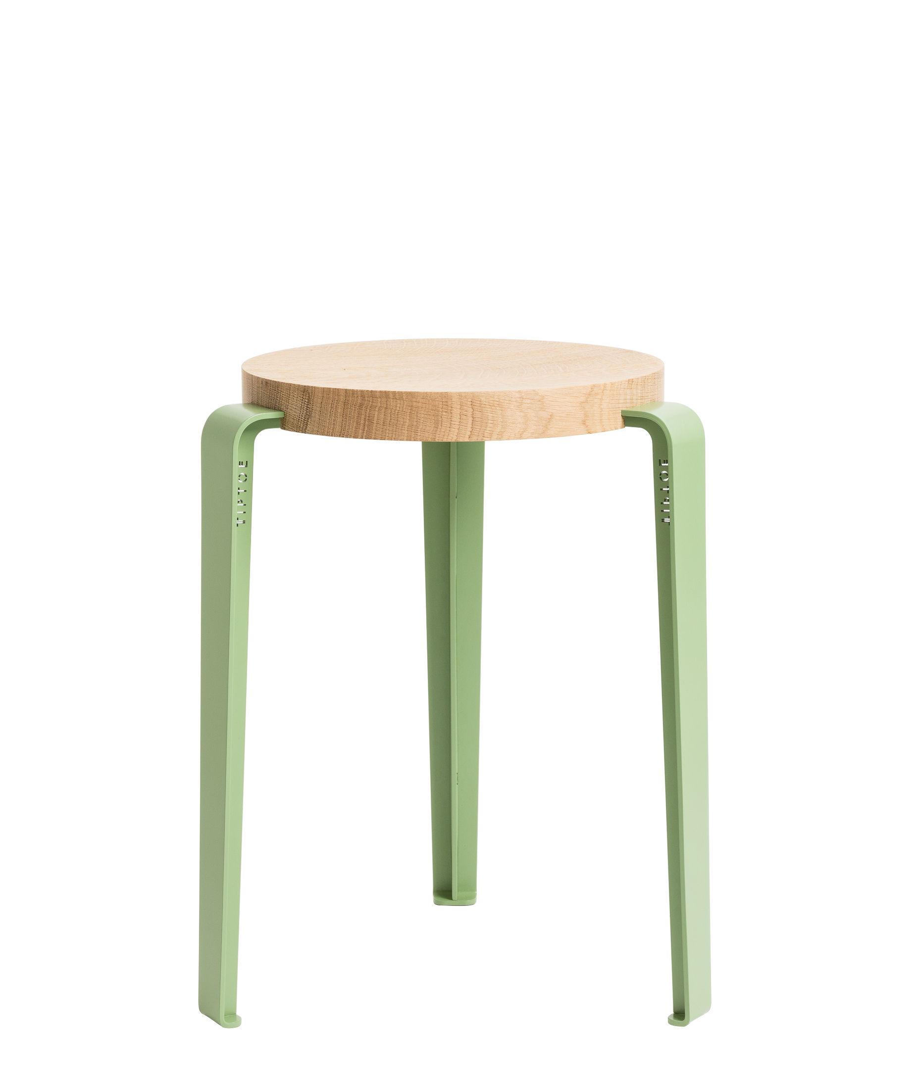 Furniture - Stools - Lou Stackable stool - / H 45 cm - Steel & oak by TipToe - Olive green / Oak - Powder coated steel, Solid oak