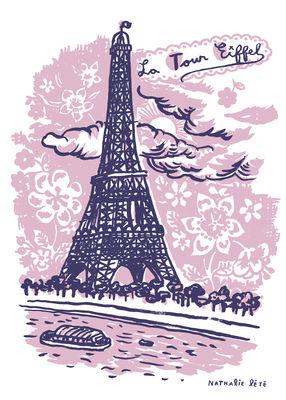 Decoration - Children's Home Accessories - La Tour Eiffel Sticker - 25 x 35 cm by Domestic - Pink - Vinyl