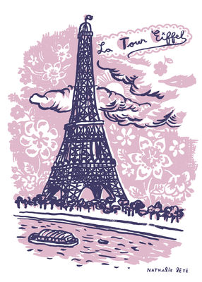 Dekoration - Für Kinder - La Tour Eiffel Sticker 25 x 35 cm - Domestic - Rosa - Vinyl