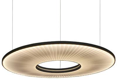 Suspension Iris Horizontale LED / Ø 80 cm -  Tissu & éclairage recto-verso - Dix Heures Dix blanc en métal