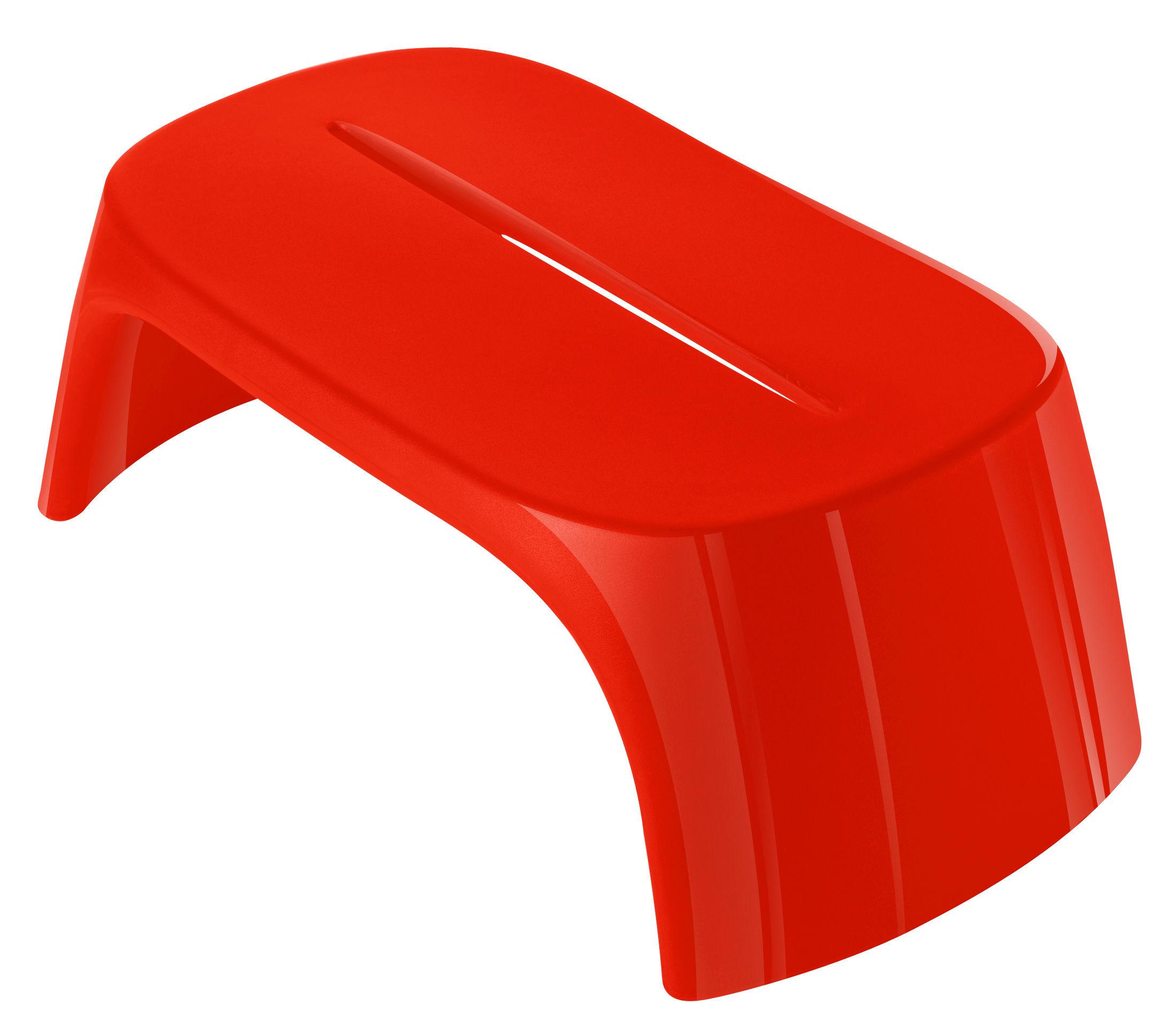Mobilier - Tables basses - Table basse Amélie / Banc - Version laquée - L 108 cm - Slide - Laqué rouge - Polyéthylène recyclable laqué