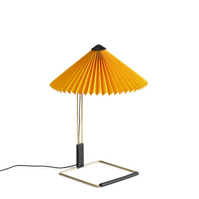 Lighting - Table Lamps - Matin Small Table lamp - / LED - H 38 cm - Fabric & metal by Hay - Yellow / Polished brass - Acier finition laiton, Pleated cotton