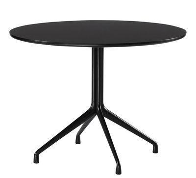 Mobilier - Tables - Table ronde About a Table / Ø 100 cm - Hay - Noir - Fonte d'aluminium, Linoleum verni