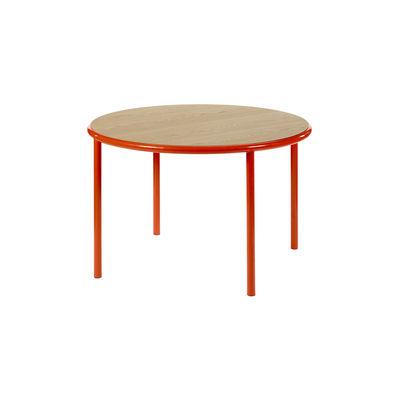 Table ronde Wooden / Ø 120 cm - Chêne & acier - valerie objects rouge/bois naturel en bois