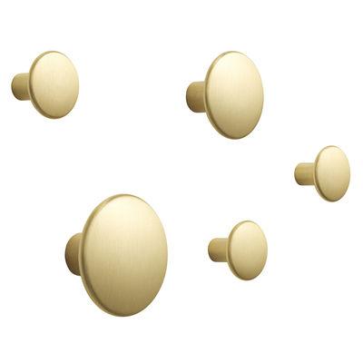 Arredamento - Appendiabiti  - Appendiabiti The Dots Métal - / Set di 5 di Muuto - Ottone - Ottone massiccio