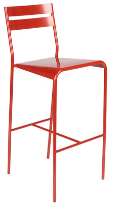 Furniture - Bar Stools - Facto Bar chair - Metal - H 75 cm by Fermob - Coquelicot - Lacquered steel