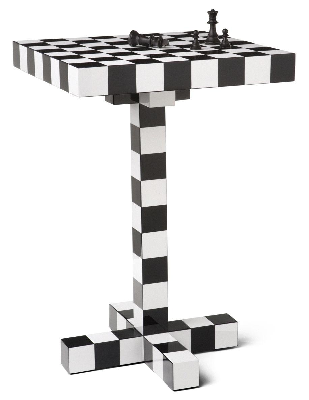 Möbel - Couchtische - Chess Table Beistelltisch - Moooi - Schwarz & weiß - lackiertes Holz