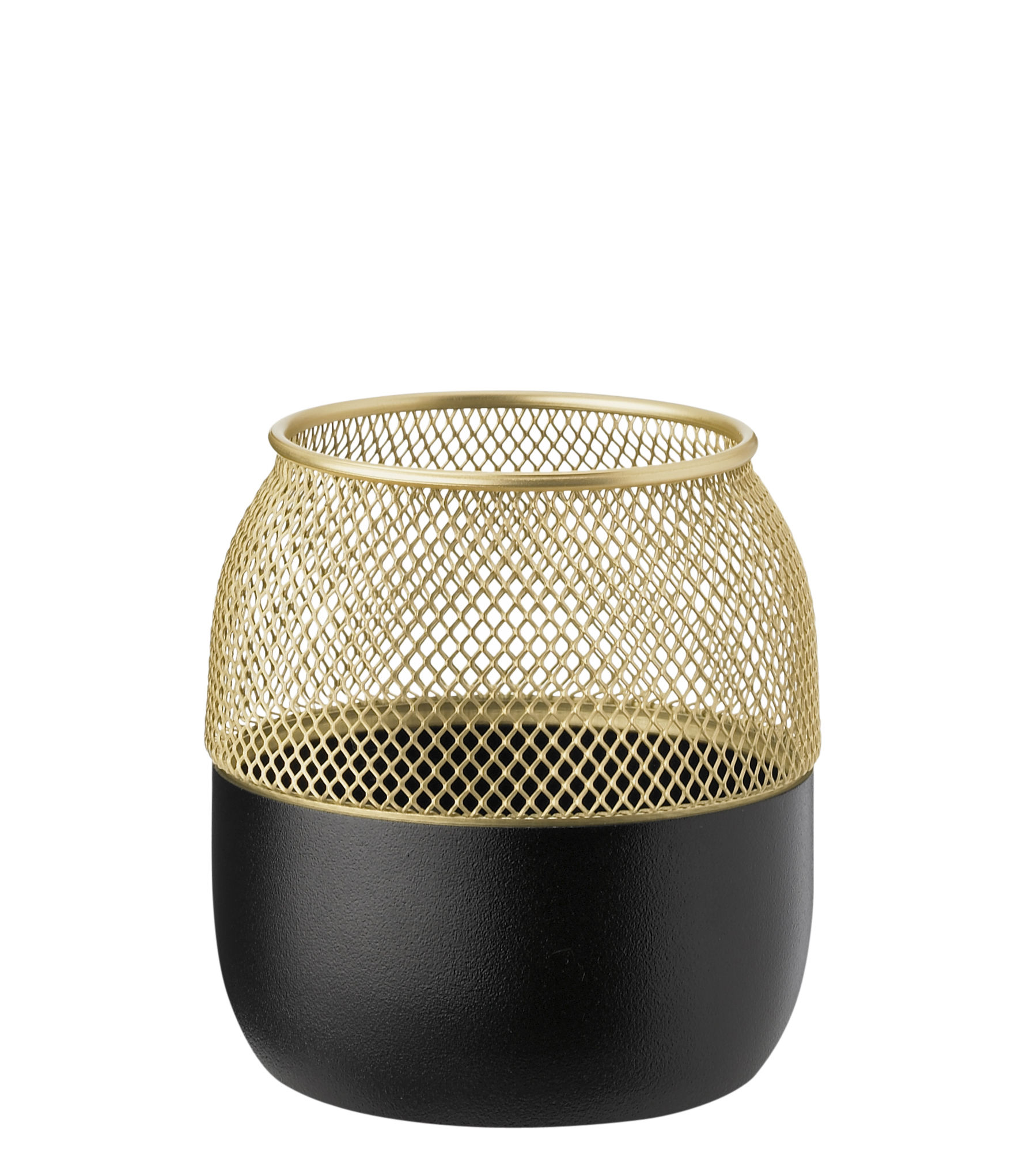 Decoration - Candles & Candle Holders - Collar Candle holder - / Small by Stelton - Small / Matt black & Brass - Brass-coated stainless steel, Teflon®-coated stainless steel