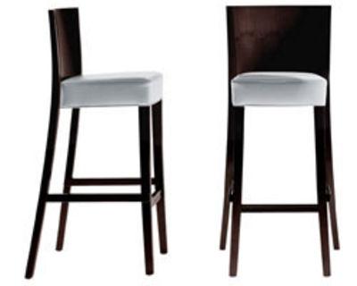 Chaise de bar Neoz H 75 cm Assise rembourrée tissu & acajou Driade